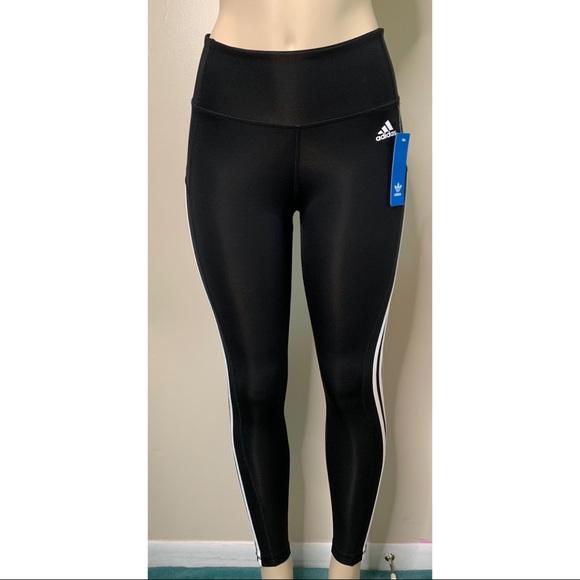 91639e2d0bbb77 adidas Pants | Climate Size Small Black Shiny Leggings | Poshmark